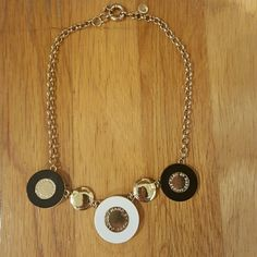 Glam Statement Marc Jacobs Necklace! Gold Marc Jacobs Necklace with three discs in black and white. Very good condition. Marc Jacobs Jewelry Necklaces
