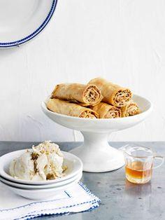 Baklava fingers with honey syrup and halva ice-cream