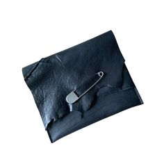 Handcrafted Black Leather Clutch #handmadebags #wearableart #australianlabel #blackclutch #studdedbag #handmadeintasmania #rawedge #blackleather #blackaccessories #safetypin #tyvek #smallbatch #smallbatchfashion #accessories #leatheraccessories #edgy #edgyfashion #streetstyle #urbanfashion #designerbags #emergingdesigner   #wearnowpaylater #styleinspo #ecofriendlyfashion #slowfashion #sustainablefashion #ethicalfashion Black Clutch, Leather Clutch, Cowhide Leather, Black Leather, Studded Bag, Eco Friendly Fashion, New Bag, Leather Accessories, Slow Fashion