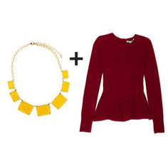 statement necklace + oxblood peplum top