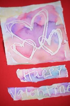"WAX RESIST VALENTINES CARDS - Kids will love this fascinating process. So fun and easy, and so exciting to see your art ""magically appear"" right before your eyes! - Happy Hooligans"