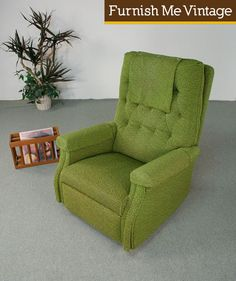 Big Comfy Retro Green Gliding Recliner Chair | Furnish Me Vintage