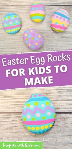 These painted Easter egg rocks are super easy and tons of fun for kids to make! Use them as part of your Easter decor or include them in a non-candy Easter egg hunt! Painting For Kids, Art For Kids, Rock Painting, Easter Arts And Crafts, Spring Crafts, Egg Rock, Dragon Fly Craft, Craft Projects For Kids, Art Projects