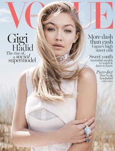 Gigi Hadid on the June 2015 cover of Vogue Australia