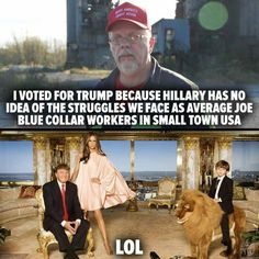 I voted for Trump because Hillary has no idea of the struggles we face as average Joe Blue Collar workers in small town USA.  LOL
