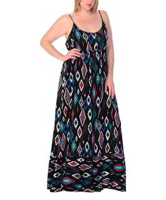 Loving this Black & Teal Ikat Maxi Dress - Plus on #zulily! #zulilyfinds