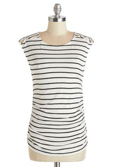 Fluent in Fashion Top in Stripes - White, Short Sleeve, Knit, White, Stripes, Buttons, Casual, Cap Sleeves, Black, Variation, Mid-length