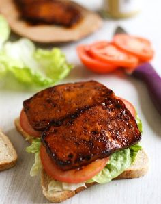 Tofu bacon BLTs recipe - this tofu bacon is SO good! and it's easy to make too! Perfect served in a classic BLT sandwich. Tofu bacon is vegan and gluten-free. Best Tofu Recipes, Bacon Recipes, Veggie Recipes, Whole Food Recipes, Vegetarian Recipes, Cooking Recipes, Healthy Recipes, Firm Tofu Recipes, Vegetarian Cooking