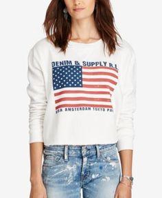 092cac7ff Denim & Supply Ralph Lauren Cropped Fleece Sweatshirt & Reviews - Tops -  Women - Macy's