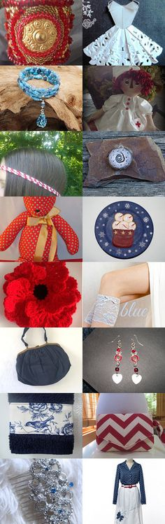 The Red White and Blue Collection by Rachel on Etsy--Pinned with TreasuryPin.com #jewelry #raggedyann #headband #cuff #tasselbracelet #garter #wedding #purse #handtowel