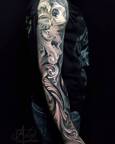 Outer part of the sleeve from yesterday. Top part is all healed lower is fresh :). 10 Tattoo, Koi Tattoo Sleeve, Grey Tattoo, Rose Tattoos, Body Art Tattoos, Hand Tattoos, Roses Quotes, Filagree Tattoo, Number Tattoo Fonts