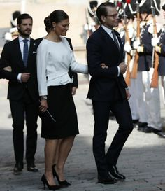 13 September 2016 - Swedish Royal Family attends a service at Church of St. Nicholas for the opening of the Parliament - dress by Paule Ka, shoes by Tabitha Simmons, clutch by Nancy Gonzalez