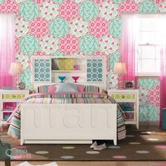 Papel de Parede Autocolante Infantil e Bebê Estampado Patchwork Floral Teen III ATSP017