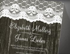 Black Rustic Lace & Barn Wood Wedding by InvitationSnob on Etsy