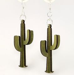3D Cactus Wood Earrings