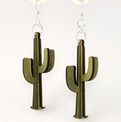3D Cactus Wood Earrings by GreenTreeJewelry on Etsy