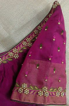 Pattu blouse hand with pearl work 91 9866583602 whatsapp no 7702919644