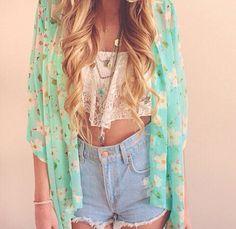 Coat: denim shorts lace crop top crop tops kimono floral kimono boho high waisted shorts summer