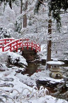 Red bridge in a frozen Japanese garden