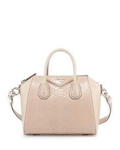 Givenchy Antigona Shiny Python Small Satchel Bag, Nude
