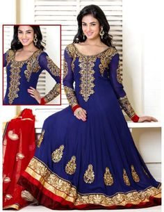Unique blue color georgette long kalidar kameez with charming work on neckline is glamorized with glossy jari, sequins, cutdana, stones work, resham embroidered floral, paisley design motifs on bottom part, on sleeves and attractive work multi layered patch hemline is perfect for very special occasions. Paired with bottom and red color dupatta with fancy patch border. One of the robust ensemble will make you more gorgeous for your precious moments.