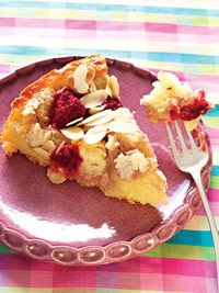 Fresh Raspberry-Mousse Almond Crumb Cake  This creamy blend of vanilla, almond, and raspberries on a flaky crust will melt in your mouth. You won't believe there are only 250 calories per slice!  Nutritional facts per serving:  250 calories  5g protein  30g carbohydrate  12g fat (7g saturated)  1g fiber