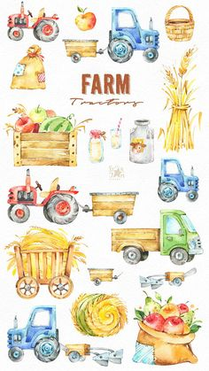 This Farm Tractors watercolor set is just what you needed for the perfect invitations, craft projects, paper products, party decorations, printable, greetings cards, posters, stationery, scrapbooking, stickers, t-shirts, baby clothes, web designs and much more. :::::: DETAILS :::::: This collection includes : - 19 Images in separate PNG files, transparent background Size approx.: 13-4in (4000-1300px) 300 dpi RGB ::::: TERMS OF USE ::::: ► Personal or non-profit You can use our artworks...