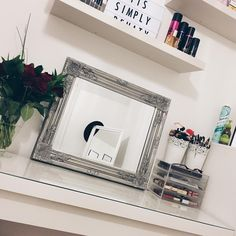 """""""Brought a mirror today for my makeup area and I'm in love with it  it's from the range. #mirror #vanity #makeupstorage #flowers #white #silver"""""""