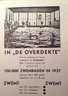 Het overdekte zwembad, Willem van Hillegaersbergstraat. In het laatste jaar van de Lagere School ging ik hier een keer in de week voor een dubbeltje zwemmen. Veel heb ik er niet geleerd.