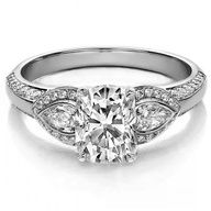 Engagement Ring - Cushion Diamond Engagement Ring Pear side stones   #rings