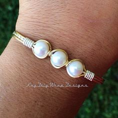 Wire wrapped Silver Gold Mix Bracelet Fresh by KayDilysWrapDesigns