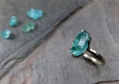 Rough Uncut Apatite Neon Blue Raw Gemstone Sterling by byAngeline, $160.00