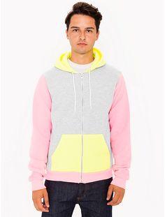 American Apparel Flex Fleece Color Block Zip Hoodie in Dark Ash / Neon Yellow / Neon Pink $50.