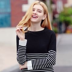 30% Off Your Fist Order! - $35.99 - Striped Crew Neck Long-Sleeved Sweet Lady Joker Sweater - http://www.voguesus.com/en/sweaters-knits/858-striped-crew-neck-long-sleeved-sweet-lady-joker-sweater.html - #fashion #style #trend #ootd #beauty #cutegirl #followme #selfie #clothing #dress #buy #sale #coupon #vogue #voguesus