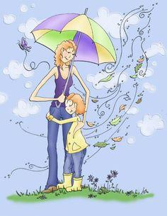 Spring+Hug+by+Meant4amoment Hugs, Umbrella Art, I Love My Daughter, Cute Monsters, Cute Images, Art Wall Kids, Beautiful Paintings, Cartoon Characters, Book Art