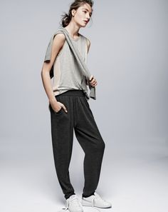 AUG '14 Style Guide: J.Crew women's prima jersey chiffon back tank, Demylee™ bobby pleated fleece pant, and Nike Court Majestic sneakers.