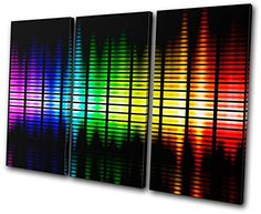 Bold Bloc Design - DJ Club Graphic Equalizer - 90x60cm Canvas Art Print Box Framed Picture Wall Hanging - Hand Made In The UK - Framed And Ready To Hang