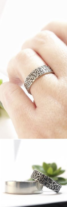Cherry Blossom wedding band in 14k white gold. Handmade by Chuck Domitrovich of Down to the Wire Designs.