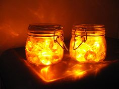 I'm thinking fairy lights in jam jars, reminisce of fireflies and fairies...
