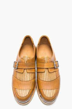 BALMAIN Brown leather wicker metal-tipped monk shoes