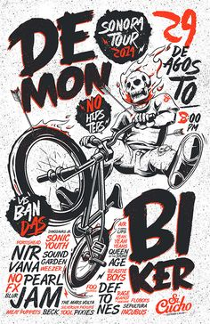 Saved by Inspirationde (inspirationde) on Designspiration Discover more Typography Demon Biker inspiration. Poster Design, Design Art, Print Design, Type Design, Design Graphique, Art Graphique, Poster S, Poster Prints, Graphic Design Illustration