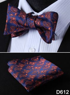 Paisley Floral Houndstooth Silk Jacquard Woven Men Butterfly Self Bow Tie BowTie Pocket Square Handkerchief Hanky Suit Set #D6
