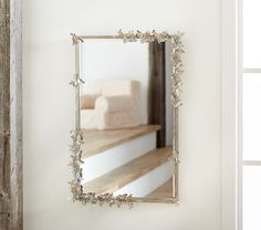 Monique Lhuillier Butterfly Rectangle Mirror at Pottery Barn Kids Kids Mirrors, Cool Mirrors, Diy Mirror, Mirror Ideas, Beaded Mirror, Beautiful Mirrors, Vanity Ideas, Nursery Mirror, Nursery Room Decor