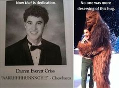 i still think it's really creepy that Darren's yearbook photo somehow made its way onto the Internet... but this is really funny :)