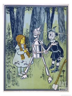 Wizard of Oz: Dorothy Oils the Tin Woodman's Joints Giclee Print by W.w. Denslow at Art.com