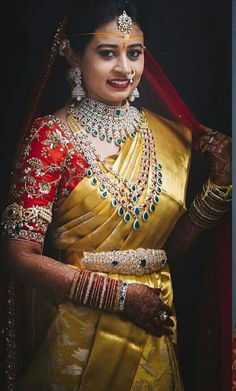 bridal jewelry for the radiant bride Indian Bridal Outfits, Indian Bridal Fashion, Bridal Silk Saree, Saree Wedding, Wedding Blouses, Bridal Blouse Designs, Saree Blouse Designs, South Indian Bride Jewellery, Bridal Jewelry