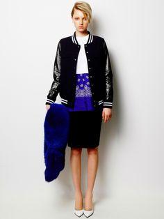 Patent Leather Blouson, Bandana T-shirt, Emotion Tight Skirt and Fox Fur Stole / LE CIEL BLEU