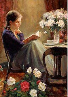 woman reading by Vladimir Volegov Reading Art, Woman Reading, Reading Books, Vladimir Volegov, Beautiful Paintings, Oeuvre D'art, Female Art, Painting & Drawing, Bull Painting