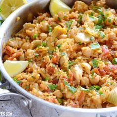 This one pot Spanish Chickpeas and rice has big flavor thanks to liberal dose of spices, artichoke hearts, and fresh lemon. Step by step photos.