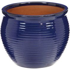 Glazed Rib Pot - Blue - 25cm at Homebase -- Be inspired and make your house a home. Buy now.